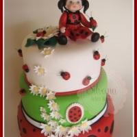 Maquete de bolo no tema Joaninha
