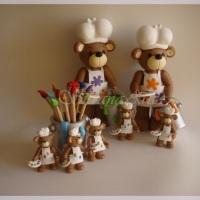Peças para decoração da mesa de festas infantis no tema Ursinhos Pintores
