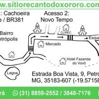 Mapa com a rota da entrada do bairro Petrópolis até o Sítio Recanto do Xororó.