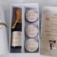 Kit Convite padrinhos de casamento personalizado! (Caixinha+Mini Espumante+3 Alfajores)