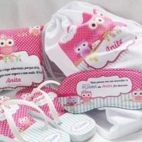 Kit Festa do Pijama personalizado! Tema Livre! Acompanha o acabamento em saquinho de celofane + fita