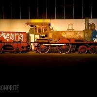 Iluminação cênica na exposição em comemoração ao dia do ferroviario.realizada no Complexo Fepasa (Ju