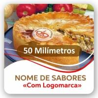 Medida 50MM redonda permite logomarca e nomes de sabores ou recheios.