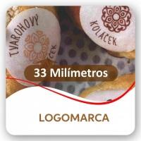 Medida 38MM redonda permite logomarca e nomes de sabores ou recheios.