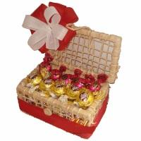Baú Doce Rápido R$43,90 10 Bombons Sonho de Valsa 10 Bombons Serenata 5 Batom de chocolate Mini
