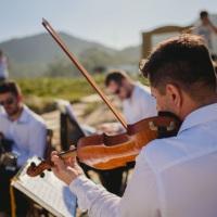 Cerimônia na praia, formação: violino, violoncelo, piano digital, cajon, violão, vocal masculino, sa