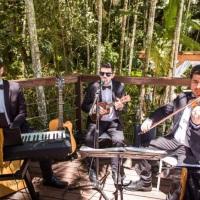 Cajon, piano digital, violão, ukulele, vocal masculino e violino para almoço de casamento