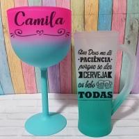 Taças de Gin Bicolor Rosa com Tiffany e Caneca Slim Degradê Tiffany