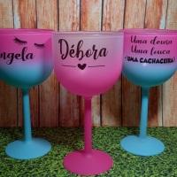 Taças de Gin Degradê Rosa e Bicolor Rosa com Tiffany