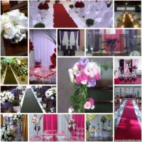 decoração e locação de kit decoração ,toalha, capa de cadeira , tapete , coluna , arranjos artificia