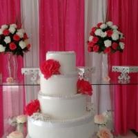 locação e decoração  mesa de bolo completa