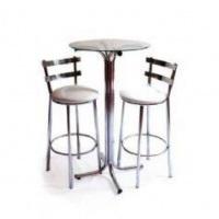 mesa cromada c/banquetas