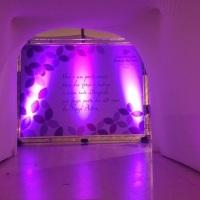 Túnel de lycra fechado e backdrop estrutura Q15 aluminio, com lona impressão digital e iluminação cê