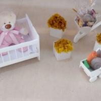 Decoração Chá de Bebê  Bercinho, carriola, carrinho e vasinhos