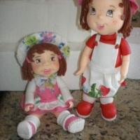 bonecas decorativas, enfeite de messa e topos de bolo